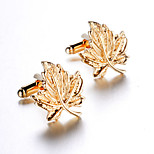 Unisex Fashion Maple Style Gold Alloy French Shirt Cufflinks (1-Pair)