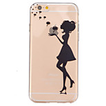 TPU Dandelion Girl  Pattern Transparent Soft Back Case for iPhone 6s 6 Plus