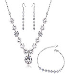High Quality AAA Zircon Crystal Jewelry Set include Necklace & Earrings&Bracelet  for Wedding Party Lady