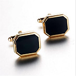 Men's Fashion Black Face Gold Alloy French Shirt Cufflinks (1-Pair)