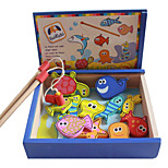 Wooden Box Pack Fishing Magnetic Toys, Children's Magnetic Fishing Toys