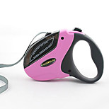 Dog Collar / Leash Adjustable/Retractable Pink Plastic