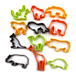 12PCS Plastic Animal Cookie Cutter Baking Tools Pastry DIY Biscuit Cookie Mold Bear Lion