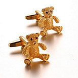 Unisex Fashion Gold Bear Alloy French Shirt Cufflinks (1-Pair)