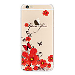 Kakashi Little Fresh Series TPU Painting Soft Case for iPhone 6s / 6 /6s Plus / 6 Plus(Red butterfly and Flowers)
