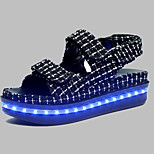 Women's Shoes Customized Materials Spring / Summer / Fall Creepers Wedding / Casual / Party & Evening Platform Magic Tape Black / White