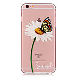 TPU Daisy and Butterfly Pattern Transparent Soft Back Case for iPhone 6s 6 Plus