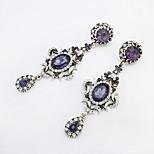 Women European Style Luxury Fashion Rhinestone Crescent Droplets Oval Drop Earrings