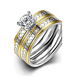 New Exquisite Unisex's Gold-Silver Small Circles White Zircon Gold-Plated Titanium Steel Set Rings(Gold-Silver)(1Set)