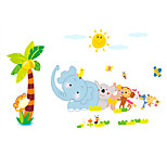 Kindergarten Wall Art Cartoon Animal Elephant Wall Stickers PVC Removable Children's Room Wall Decals