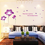 Purple Flower With Butterfly Wall Stickers Sofa Background Wall Decals PVC Wall Art