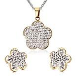 Women's Rhinestone Flower Style Gold Stainless Steel Necklace Earrings Jewelry Set