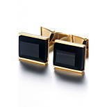 Men's Fashion Black Stone Alloy French Shirt Cufflinks (1-Pair)