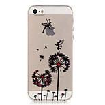 TPU Dandelion Pattern Transparent Soft Back Case for iPhone SE 5s 5