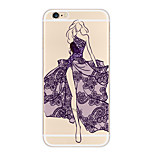 Kakashi Lace Printing TPU Painting Soft Case for iPhone 6s / 6 /6s Plus / 6 Plus(Fashion Queen)