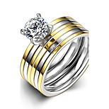 Fashion Generous Couple's Stripes White Zircon Gold-Plated Titanium Steel Couple Rings(Golden)(1Set)