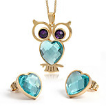 Women's Cute Owl Style Gold Alloy Necklace Earrings Jewelry Set