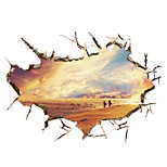 3D Wall Stickers Wall Decals, Beautiful Sunset Beach Scenery PVC Wall Sticker