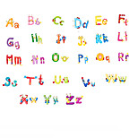 Cartoon 26 Alphabet English Letters PVC Wall Stickers Environmental Children's Bedroom Kindergarten Wall Art Wall Decals