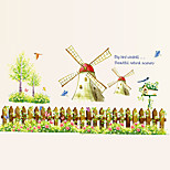 Windmill Flower Fences Wall Stickers Leisure DIY Children's Bedroom Glass Wall Decals Environmental Wall Art