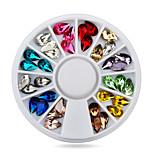 5X8mm Mix 12colors 3d Glitter Charm Nail Gem Stones Wheel,DIY Nail Jewelry Accessories