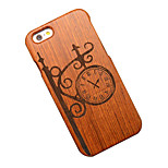 bois de poirier vendange mur horloge dur étui de protection arrière couverture d'iphone pour 6s iphone plus / iphone 6s 6 plus / iphone /