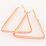 European Style Fashion Simple Temperament Beads Triangle Hoop Earrings