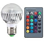 E27 85V-265V 100-200Lm 3W RGB Remote Control LED Colorful Bulbs