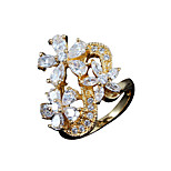New arrival women 18k gold plated wedding flower design band ring