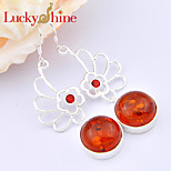 Shiny Forward Unique Round Amber Garnet Gem 925 Silver Drop Earrings For Wedding Party Daily Holiday 1Pairs
