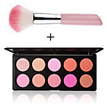 10 Colors Blusher Makeup Cosmetic Blush Powder Palette New Pink Rose  Professional Make Up Tools +1PCS Makeup Brush