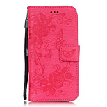 PU Leather Embossed Butterfly Flower Pattern Solid Color Wallet Case with Card Slots for iPhone 6s 6 Plus