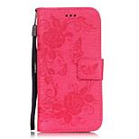 pu couro borboleta em relevo padrão de flor caso de cor carteira sólida com slots de cartão para iphone 6s 6 mais