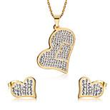 Women's Rhinestone Sweet Heart Style Gold Alloy Necklace Earrings Jewelry Set