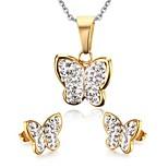 Women's Rhinestone Butterfly Style Gold Stainless Steel Necklace Earrings Jewelry Set