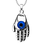 Archaize 18k Gold Plated Blue Eye&Robot Hand Necklace Pendant Unisex Trendy Jewelry Gift P30150