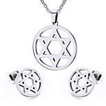 Women's Hollow Star Style Stainless Steel Necklace Earrings Jewelry Set
