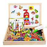 Intelligent 3D Animal Spell Spell, Wooden Magnetic Writing Board, the Board Tablet Educational Puzzles-Ocean
