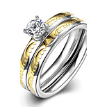 New Fashion Gold-Silver Small Circles White Zircon Gold-Plated Titanium Steel Statement Rings(Gold-Silver)(1Set)