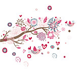 Bohemia Style Pink Flower Heart Birds Wall Decals Fashion PVC Living Room Bedroom Wall Stickers Removable