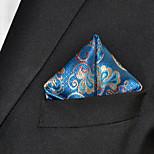Men's Floral  Blue Pocket Square 100% Silk Wedding Business