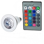 E14 85V-265V 100-200Lm 3W Colorful RGB Remote Control LED RGB Spotlights Lights Cup Silver