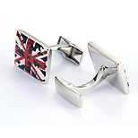 Men's Fashion UK Flag Silver Alloy French Shirt Cufflinks (1-Pair)