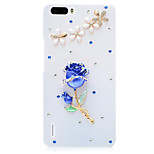 Rhinestone Hard Back Cover for Huawei Honor 6Plus(white - Blue Rose)