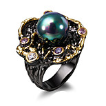 Elegant Flower Fresh water pearl Cubic Zirconia 18K Gold & Black Plated Luxury rings for women