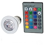 E27 85V-265V 100-200Lm 3W Colorful RGB Remote Control LED RGB Spotlights Lights Cup Silver
