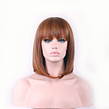 Europe And The United States The New Brown Neat Bang Bobo 12 inch High Temperature Short Straight Hair Silk Wig