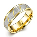 New Fashion Individual Unisex's Gold-Silver Stripes Gold-Plated Titanium Steel Couple Rings(Gold-Silver)(1Pc)
