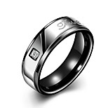 New  Individual English Alphabets Rose Gold Plated Titanium Steel Couple Rings(Black,Rose Gold)(1Pc)