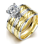 Fashion Individual Unsex's  Leaves White Zircon Gold-Plated Titanium Steel Couple Rings(Golden)(1Set)